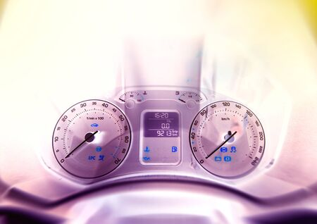consummation: Abstract view of car instrument panel - frontal view of car dashboard