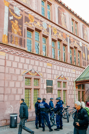 mulhouse france dec 12 2015 police officers surveilling the entrance gate with - Police Officer Christmas Decorations