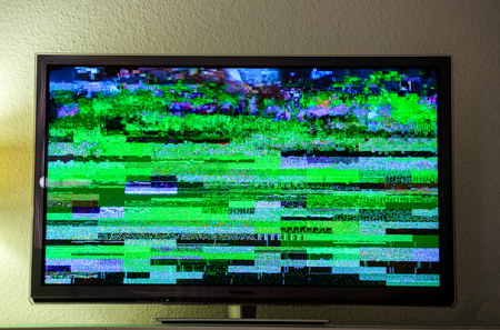 tft: Static tv noise, bad TV Digital Video Broadcasting signal on modern lcd plasma tft screen in living room during live transmission, live show, movie show