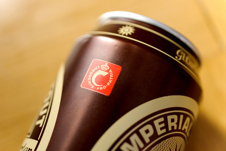 LONDON, UNITED KINGDOM - NOVEMBER 5, 2015: Laboremus pro Patria (Let us work for our country) inscription on a Carlsberg beer can. Editorial