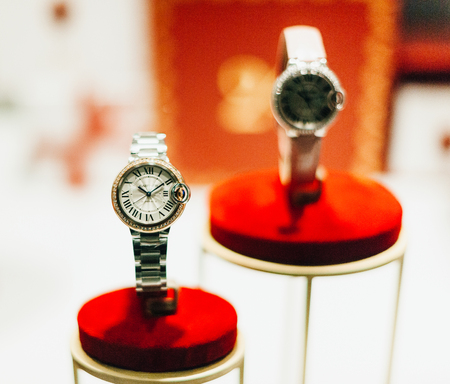 jewlery: STRASBOURG, FRANCE - DEC 20, 2016: Luxury Cartier female watches with natural diamonds, sapphire glass and gold covered. Cartier is a luxury high-end fashion jewlery  house