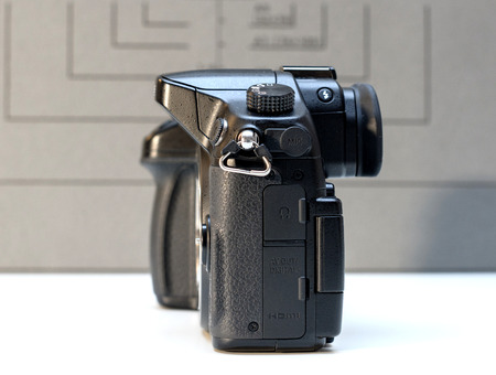 PARIS, FRANCE - FEB 13, 2017: Detail of the Panasonic Lumix DMC-GH4 - Micro Four Thirds System digital still and video camera originally released in May 2014. At the time of its release, the GH4 was notable for being the worlds first Mirrorless interchan