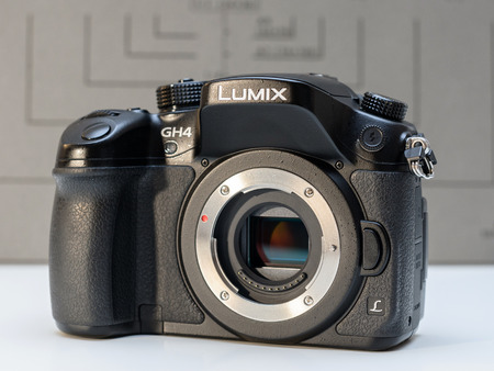 PARIS, FRANCE - FEB 13, 2017: Sensor detail of the Panasonic Lumix DMC-GH4 - Micro Four Thirds System digital still and video camera originally released in May 2014. At the time of its release, the GH4 was notable for being the worlds first Mirrorless in
