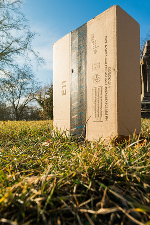 STRASBOURG, FRANCE - FEB 16, 2017: Amazon Prime cardboard box delivered by a drone in the green grass lawn of a park garden - sun flare and wide lens