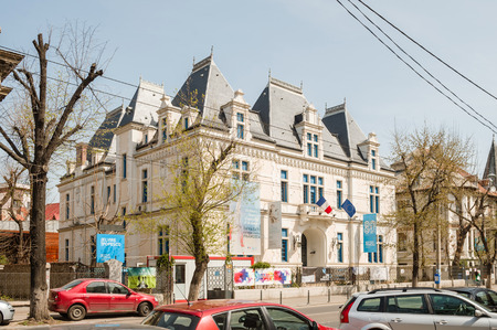 he is public: BUCHAREST, ROMANIA - APR 1, 2016: Institut Francais building in central Bucharest. he Institut Francais is a French public industrial and commercial organization (EPIC)