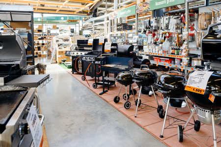 BUCHAREST, ROMANIA - APR 1, 2016: Interior of Hornbach the German DIY-store chain offering home improvement and do-it-yourself goods - customers buying goods, selecting the best tools Redactioneel