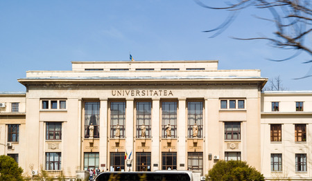 BUCHAREST, ROMANIA - APR 1, 2016: Faculty of Law, Law school in Bucharest, Romania part of the University of Bucharest facade located on the Bulevardul Mihail Kogalniceanu  avenue