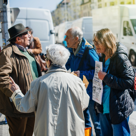 referendum: STRASBOURG, FRANCE - APR 8, 2017: Political agitation at French market for the upcoming French presidential election 2017 - political discussion at French market Editorial