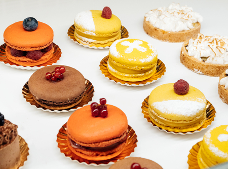 Selection of French sweets in store Macarons gluten-free Stock Photo