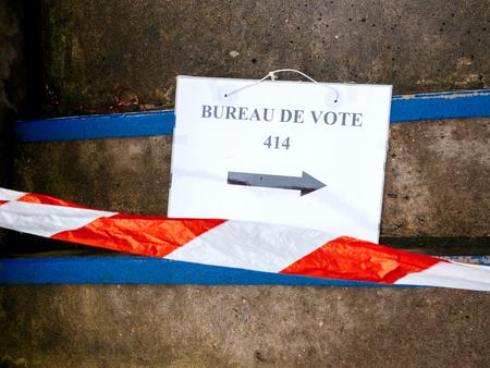 Strasbourg france may 7 2017: bureau de vote sign on floor