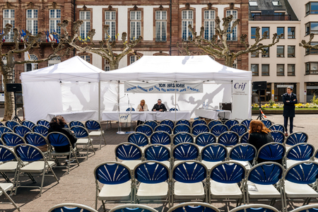 deported: STRASBOURG, FRANCE - APR 23, 2017:  Yom Hashoah with Jewish rabbi at the public reading of names of the victims of the Holocaust deported from Alsace - Holocaust Remembrance Day