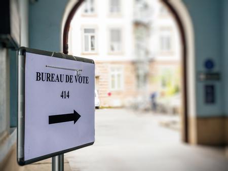 Strasbourg france may bureau de vote sign in french