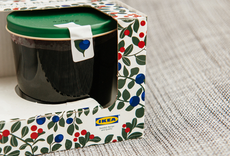 PARIS, FRANCE - OCT 25, 2016: IKEA food package - Swedish jam made from organic lingonberry and blueberry fruits. IKEA Foods is a division of IKEA furniture. IKEA is a Scandinavian chain selling ready-to-assemble furniture, plus housewares, in a warehouse Editorial