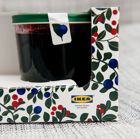 housewares: PARIS, FRANCE - OCT 25, 2016: IKEA food package - Swedish jam made from organic lingonberry and blueberry fruits. IKEA Foods is a division of IKEA furniture. IKEA is a Scandinavian chain selling ready-to-assemble furniture, plus housewares, in a warehouse Editorial