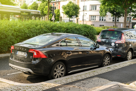 manufacturer: STRASBOURG, FRANCE - MAY 30, 2017: Black Volvo S60 d5 awd limousine car parked in the city. The Volvo S60 is a compact executive car manufactured and marketed by Volvo since 2000 and is now in its second generation. Editorial