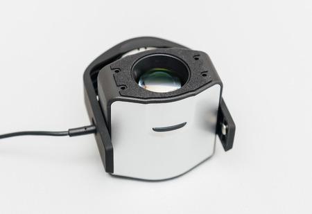 icc: Open professional calibration device for modern monitor on light gray background. A Tristimulus colorimeter, colloquially shortened to colorimeter, is used in digital imaging, to profile and calibrate output devices