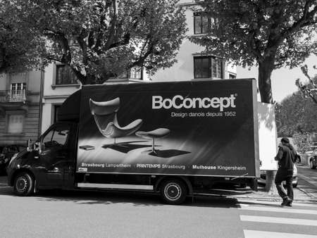 strasbourg france apr 28 2017 furniture delivery van with worker preparing to - Furniture Delivery Jobs