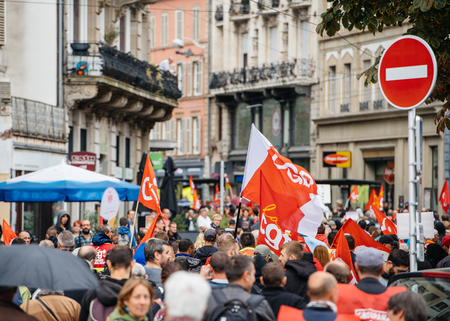 STRASBOURG, FRANCE - SEPT 12, 2017: Large crowd of French people at French Nationwide day of protest against the labor reform proposed by Emmanuel Macron Government