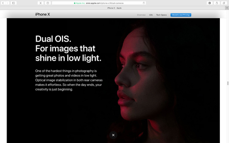 PARIS, FRANCE - SEP 12, 2017: Apple Computers website on Safari Browser showcasing latest Apple products - showcasing latest iPhone X 10 and dual OIS for fine images Editorial