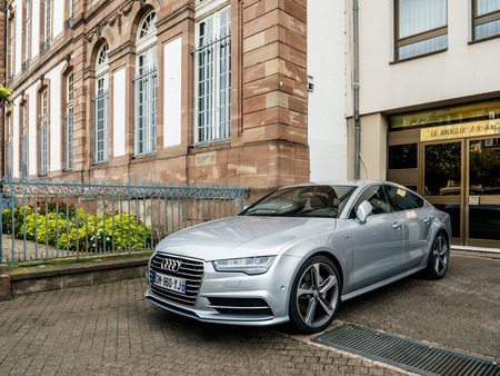 STRASBOURG, FRANCE - OCT 1, 2017: Luxury Audi A8 car parked in front of the apartment building near the City Hall of Strasbourg