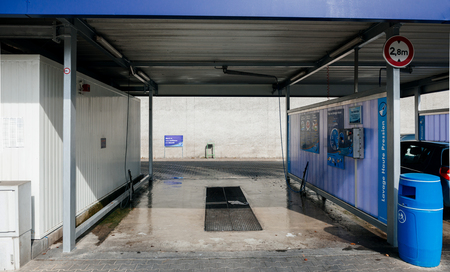 STRASBOURG, FRANCE - SEP 28, 2014: Empty Elephant Bleu self car wash station on French street