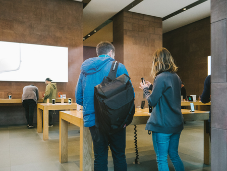 STRASBOURG, FRANCE - NOV 3, 2017: Genius Team helping with purchase of the latest Apple iPhone X goes on sale in Apple Store worldwide Editorial