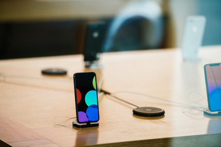 STRASBOURG, FRANCE - NOV 3, 2017: Latest Apple iPhone X and AirCharge goes on sale in Apple Store worldwide