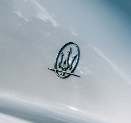 STRASBOURG, FRANCE - OCT 3, 2017: Maserati logotype on the car body