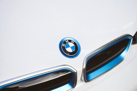 PARIS, FRANCE - APR 7, 2017: BMW on the white limousine hybrid car