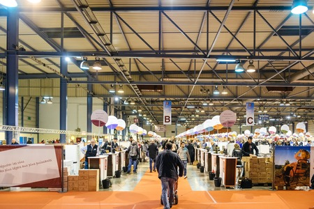 STRASBOURG, FRANCE - FEB 19, 2018 Perspective stands of French wine at the Vignerons independant English: Independent winemakers of France wine fair in Strasbourg