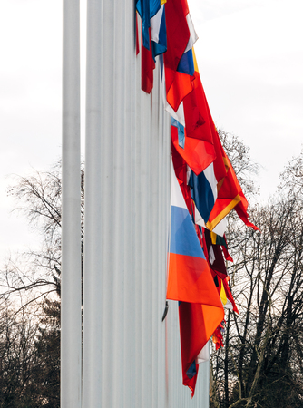 Detail of flag of Russia flying half-mast at Council of Europe as a tribute and mourning of victims of fire at Zimnyaya Vishnya Winter Cherry shopping centre Kemerovo. Stock Photo