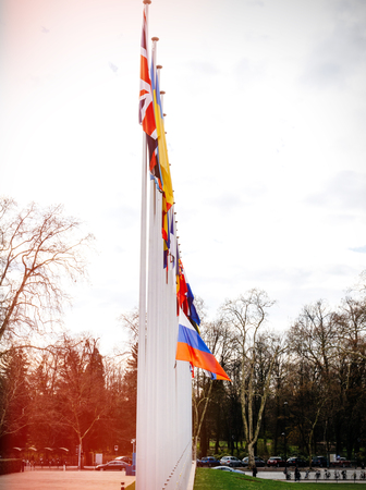 City view with flag of Russia flying half-mast at Council of Europe as a tribute and mourning of victims of fire at Zimnyaya Vishnya Winter Cherry shopping centre Kemerovo.