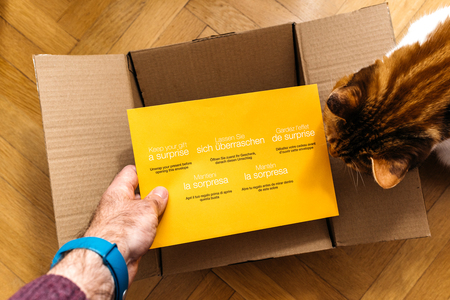 PARIS, FRANCE - FEB 14, 2018: Man unboxing Amazon.com cardboard containing a surprise yellow envelope with Greeting Card from friend Amazon being helped by curious cat
