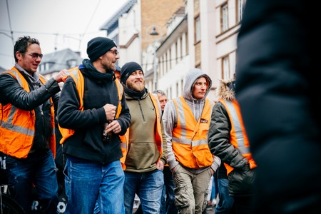 STRASBOURG, FRANCE  - MAR 22, 2018: Train workers from SNCF at demonstration protest against Macron French government string of reforms, mutiple trade unions called public workers to strike Editorial