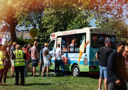 WINDSOR, BERKSHIRE, UNITED KINGDOM - MAY 19, 2018: Ice cream van at the royal wedding marriage celebration of Prince Harry, Duke of Sussex and the Duchess of Sussex Meghan Markle