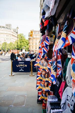 LONDON, UNITED KINGDOM - MAY 18, 2018: Street shop selling souvenir memorabilia royal wedding celebration a day before Windsor Castle Meghan Markle Prince Harry marriage Editorial