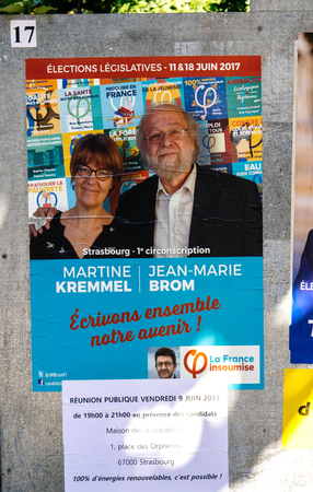 STRASBOURG, FRANCE - JUN 10, 2017: Political posters advertising of Elections legislatives francaises de 2017 French legislative election of La France Insoumise