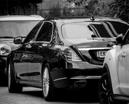 PARIS, FRANCE - MAY 21, 2018: Black and white of new Maybach Mercedes car luxury blue 4matic awd limousine parked on luxury street in France