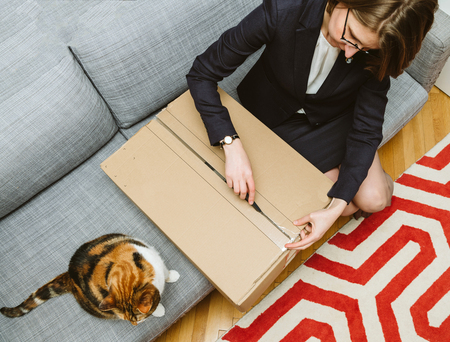 Living room view from above of woman unpacking unboxing cardboard box box side being helped by her pet cat beautiful animal Фото со стока