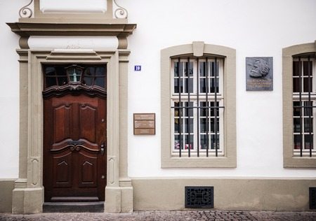 TRIER, GERMANY - FEB 21, 2015: Entrance to the house were Karl Marx, the German philosopher, economist, sociologist, journalist, and revolutionary socialist was born in 1818