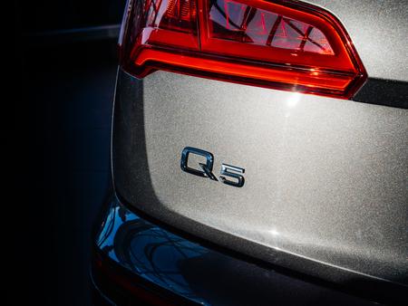 PARIS, FRANCE - OCT 10, 2018: Luxury Audi Q5 SQ7 SUV on a French street signage brand logo