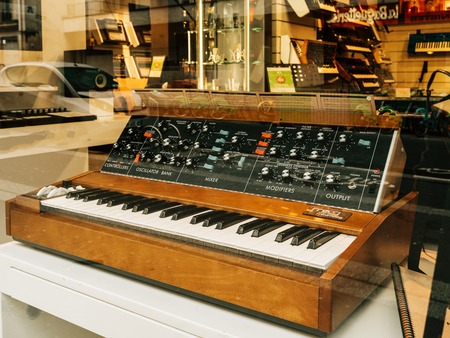 PARIS, FRANCE - JAN 30, 2018: Sale of the Minimoog is a monophonic analog synthesizer, invented by Bill Hemsath and Robert Moog Editorial