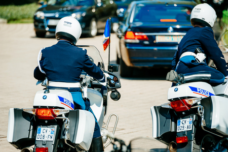 STRASBOURG, FRANCE - APR 21, 2015: Police officers convoy on motorcycles preparing to leave the European Court of human Rights in Strasbourg Redactioneel