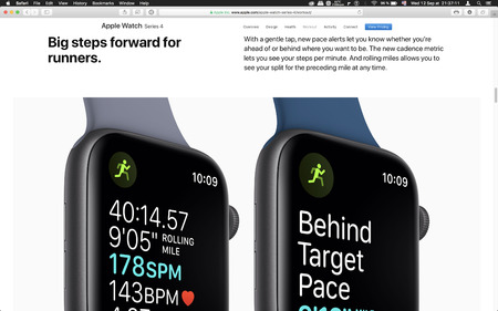 London, United Kingdom - September 12, 2018: Auto Workout Apple Watch wearable computer, seen on computer MacBook display after Apple Computers product launch
