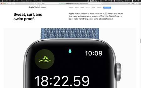 London, United Kingdom - September 12, 2018: Swim workout app Apple Watch wearable computer, seen on computer MacBook display after Apple Computers product launch