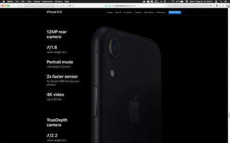 London, United Kingdom - September 12, 2018: Latest iPhone X R smartphone compute camera specs , seen on computer MacBook display after Cupertino keynote product launch