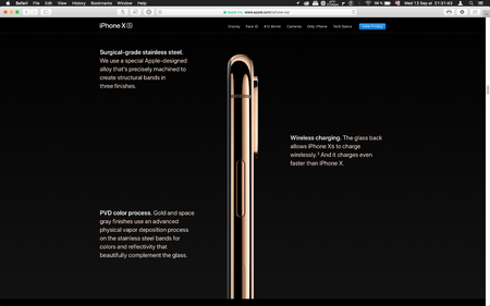 London, United Kingdom - September 12, 2018: Components of latest golden Apple iPhone XS iPhone XS Max iPhone X R smartphone computer, seen on computer MacBook display after Cupertino keynote product launch Editorial