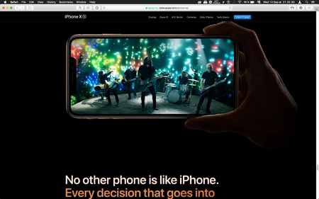 London, United Kingdom - September 12, 2018: Music band on Latest golden Apple iPhone XS iPhone XS Max iPhone X R smartphone computer, seen on computer MacBook display after Cupertino keynote product launch