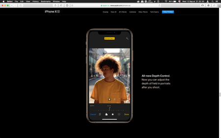 London, United Kingdom - September 12, 2018: Camera app depth control on latest golden Apple iPhone XS iPhone XS Max iPhone X R smartphone computer, seen on computer MacBook display after keynote