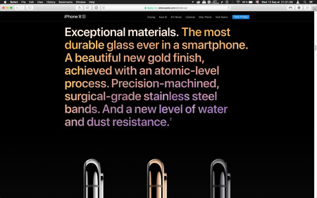 London, United Kingdom - September 12, 2018: Exceptional material Latest golden Apple iPhone X iPhone XS Max iPhone XS R smartphone computer, seen on computer MacBook display after Cupertino keynote product launch